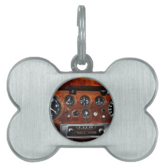 vintage car radio and instruments pet ID tag