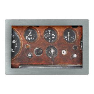 vintage car radio and instruments rectangular belt buckle