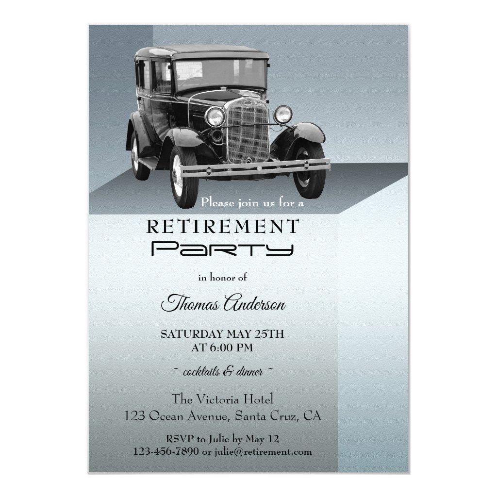 Vintage Car Retirement Party Invitation