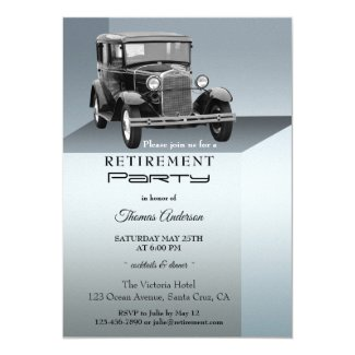 Vintage Car Retirement Party Invitation
