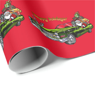 Vintage Car Santa Wrapping Paper