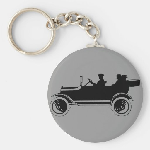 Vintage Car Silhouette Classic Button Keychain