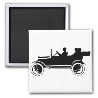 Vintage Car Silhouette Fridge Magnet
