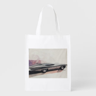 Vintage Car Sketch (21) LRG 9 Reusable Grocery Bag