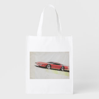 Vintage Car Sketch (22) LRG 10 Grocery Bag