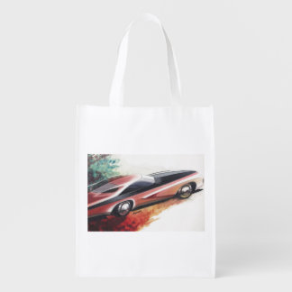 Vintage Car Sketch (26) LRG 14 Grocery Bag