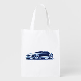 Vintage Car Sketch (31) QS 3 Grocery Bag