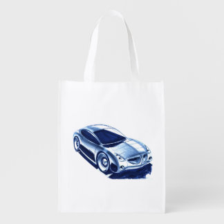 Vintage Car Sketch (38) QS 10 Grocery Bag