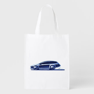 Vintage Car Sketch (41) QS 13 Reusable Grocery Bag