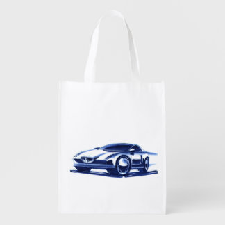Vintage Car Sketch (42) QS 14 Grocery Bag