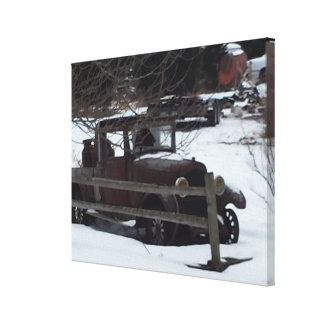 Vintage Car Snow Fence Canvas Print