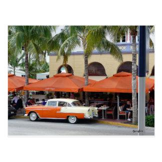 Vintage Car South Beach Florida Postcard