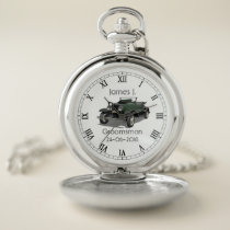 Vintage car themed Custom personalized Silver Pocket Watch