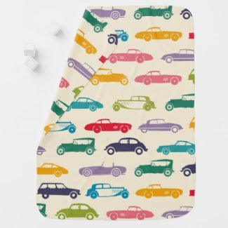 VINTAGE CAR TILEABLE WALLPAPER BABY BLANKET