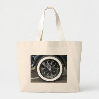 Vintage Car Tire Large Tote Bag