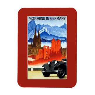 Vintage car travel Germany advertising Rectangular Photo Magnet