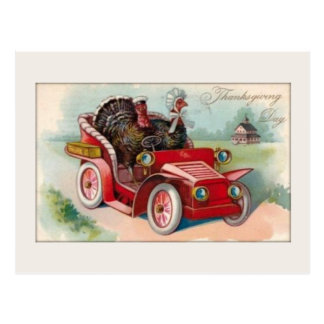 Vintage Car/Turkey Thanksgiving Card