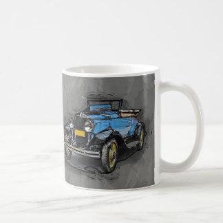 Vintage Car, Watercolor and sketch print, gift mug