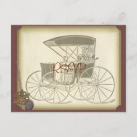 Vintage Car Wedding Invite RSVP with Photo