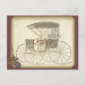 Vintage Car Wedding Invite RSVP with Photo