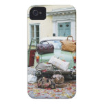 Vintage car with lots of luggage iPhone 4 cases