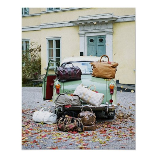 Vintage car with lots of luggage print