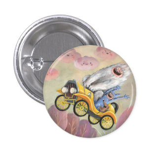 Vintage Car with Monsters Button