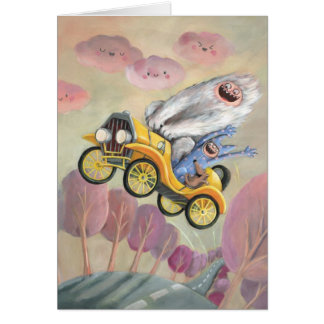 Vintage Car with Monsters Greeting Card