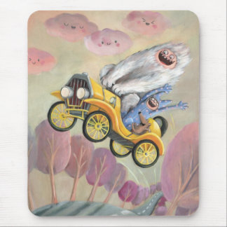 Vintage Car with Monsters Mouse Pad