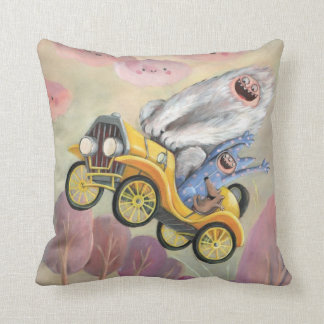 Vintage Car with Monsters Pillow