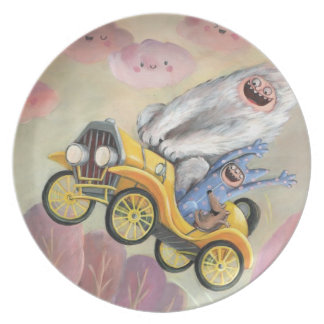 Vintage Car with Monsters Plate