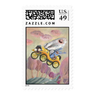 Vintage Car with Monsters Stamp