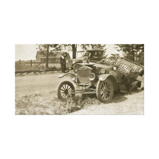 Vintage Car Wreck 1930s Canvas Print