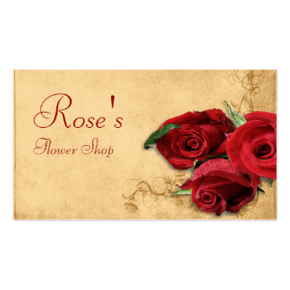 Vintage Caramel Brown Rose Florist Business Card Template