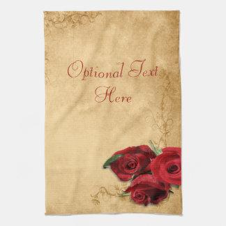 Vintage Caramel Brown & Rose Hand Towels