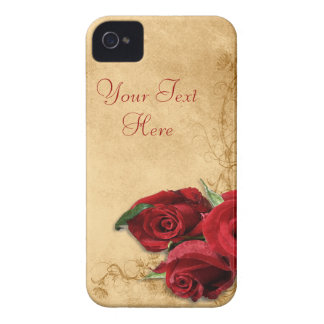 Vintage Caramel Brown & Rose iPhone 4 Cover