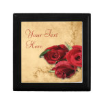 Vintage Caramel Brown & Rose Jewelry Box