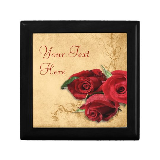 Vintage Caramel Brown & Rose Keepsake Box