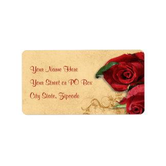 Vintage Caramel Brown & Rose Personalized Address Label
