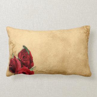 Vintage Caramel Brown & Rose Throw Pillow