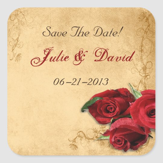 Vintage Caramel Brown & Rose Save The Date Wedding Square Sticker