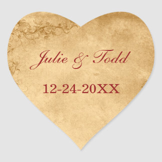 Vintage Caramel Brown & Rose Save The Date Wedding Stickers