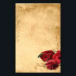 """Vintage Caramel Brown &amp; Rose Stationery<br><div class=""""desc"""">Elegant vintage caramel brown wedding template design featuring decorative corner scrolls on the top and bottom with a photo of three red roses in the lower corner. The background is given a textured grunge application for an antique paper look. This design comes in several ready made backgrounds. This design also...</div>"""