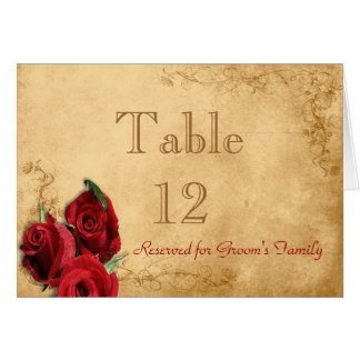 Vintage Caramel Brown & Rose Table Number Note Card