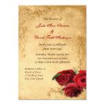 Vintage Caramel Brown & Rose Wedding Card