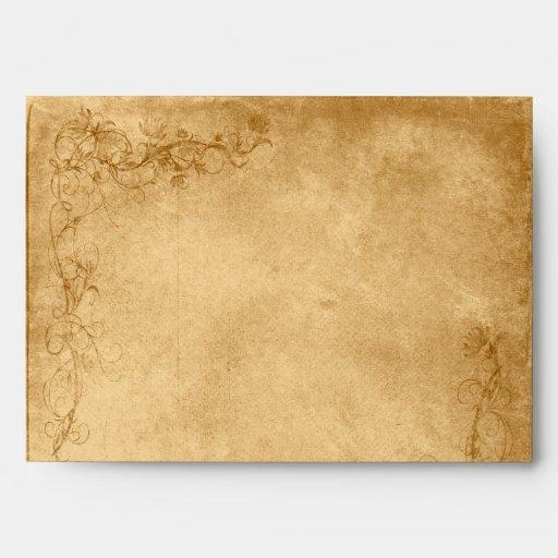 Vintage Caramel Brown & Rose Wedding Envelope