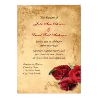Vintage Caramel Brown Rose Wedding Personalized Invitation