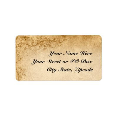 Vintage Caramel Brown & Rose Wedding Personalized Address Label