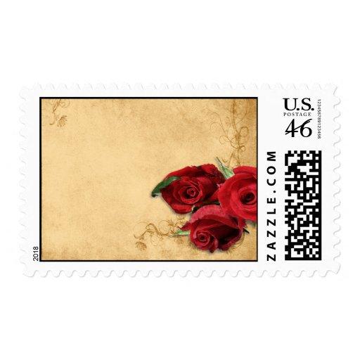 Vintage Caramel Brown & Rose Wedding Postage Stamp