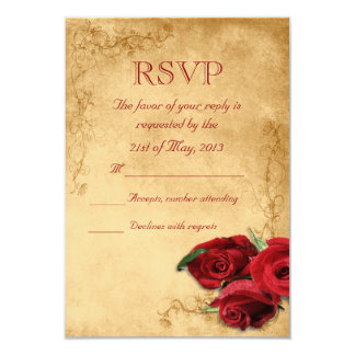 Vintage Caramel Brown & Rose Wedding RSVP Card